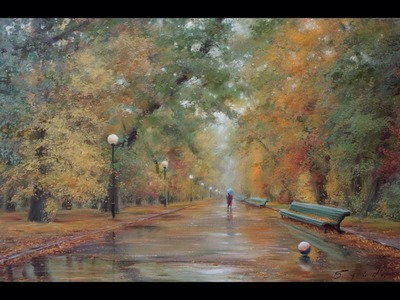 Осень в парке. Autumn in the Park. Process of creating oil painting from Oleg Buiko. 油畫  油絵