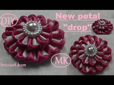 DIY.New Kanzashi Petal.Kanzashi Flower tutorial.Ribbon flower.MK.канзаши: bricoart.kam
