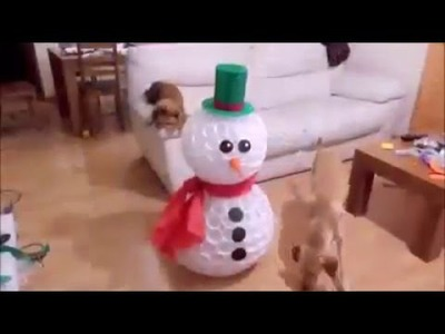 Christmas decorations. Snowman from caps