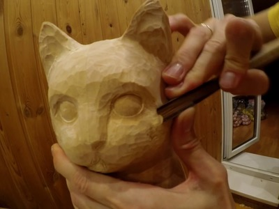 WOOD CARVING sculpture: cat