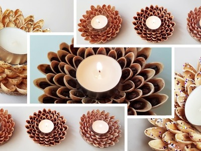 3 Ways to DIY Candlestick With Pistachio Shells craft tutorial | 3 способа сделать прдсвечник
