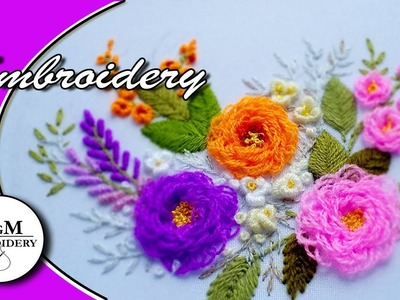 EMBROIDERY: FLOWERS Turkish stitch. ВЫШИВКА:  ЦВЕТЫ