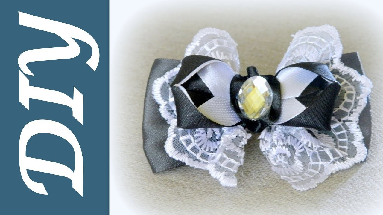 Бант из ленты Школьные канзаши.Bow of ribbon School kanzashi