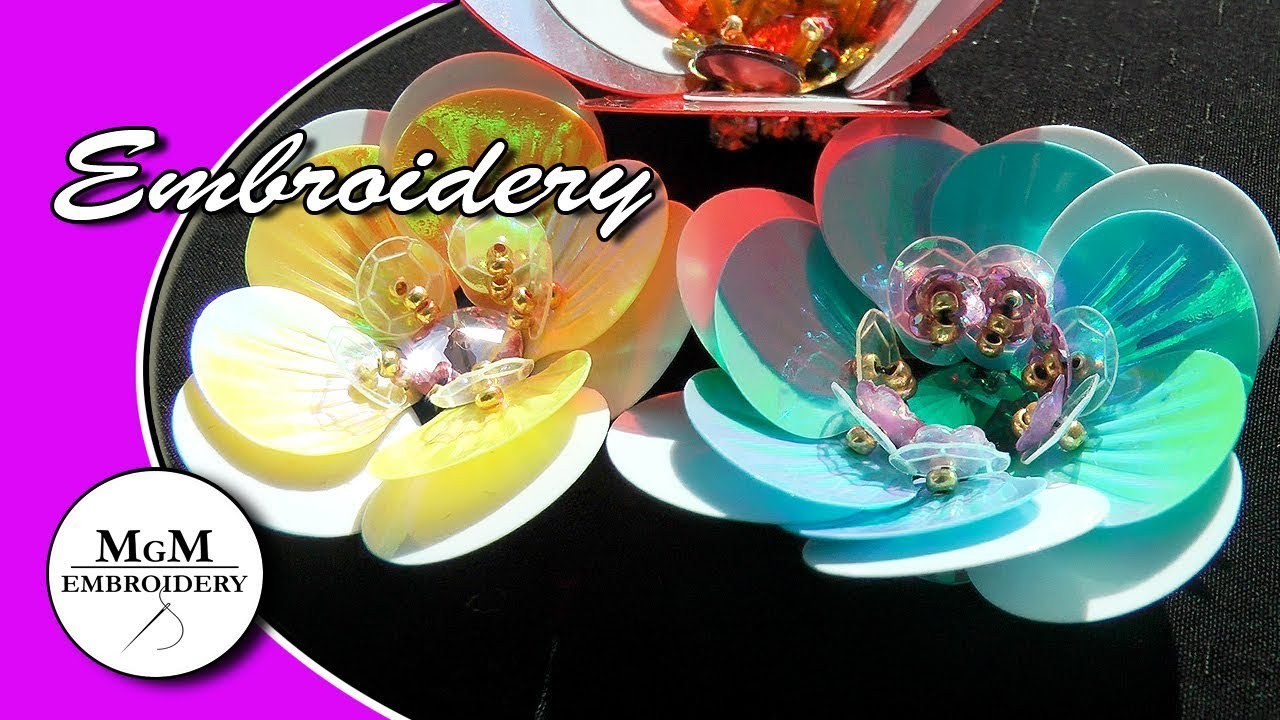 EMBROIDERY: FLOWER with SEQUINS  \ ВЫШИВКА: ЦВЕТОК ИЗ ПАЙЕТОК