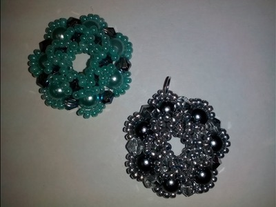 Кулон из бусин, биконусов и бисера. МК. DIY. Tutorial: pendant