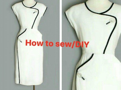 Easy How to stitching classic dress. full tutorial. DIY.Sewing for beginner. sew over it