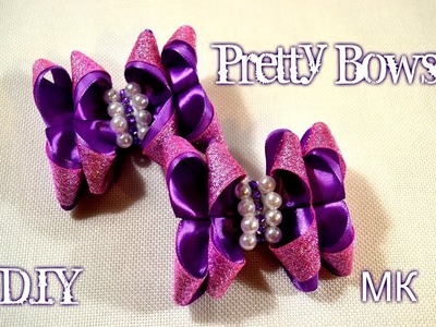 "????Бантики "" Ушки""????.How to Make Pretty Bows Kanzashi????.Tutorial.D.I.Y"
