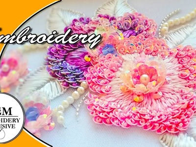 Embroidery  Flower |  Sequin beads |  Вышивка Цветок из пайеток