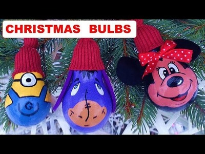 DIY Christmas decorations. How to recycle old liht bulbs. Елочные игрушки из лампочек.