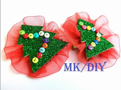 "МК: Зажим ""Елочка в юбке"". DIY: Hair clips ""Christmas tree in a skirt"""