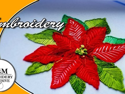 Hand Embroidery Poinsettia  |  Вышивка Пуансуттия