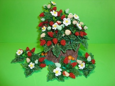 Земляника из бисера. . Часть 8.8.  Посадка в «пенёчки».  Strawberries from beads.