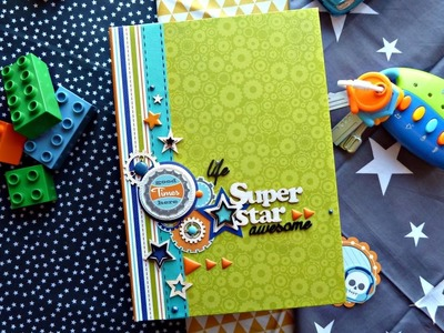 "МК по конструкции альбома. Tutorial Photo album ""Super star"".Doodlebug design.  boys only"