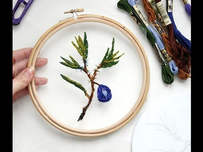How to embroider a plum branch on tulle. Part 1 tutorial diy. level 1. Вышиваем ветку сливы. Часть 1