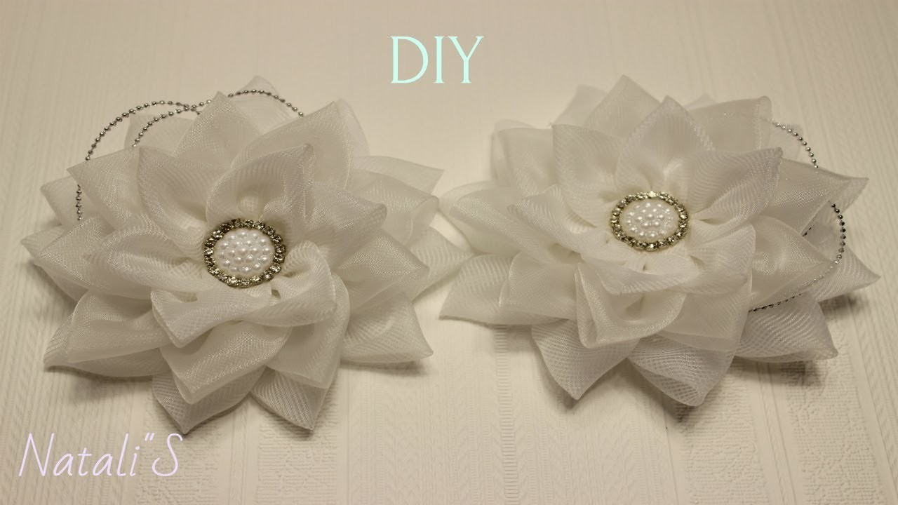 Резинки для волос из органзы, МК.DIY Kanzashi HairClip