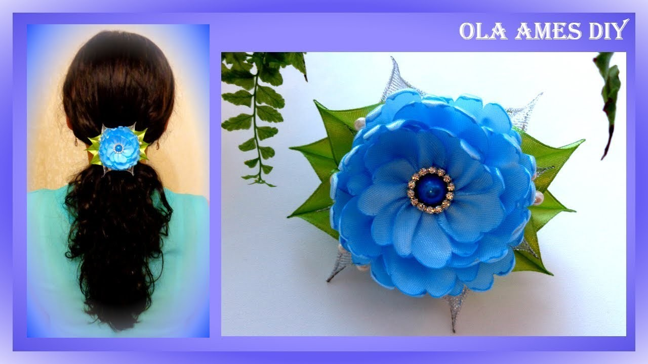 Цветы из атласных лент. DIY Flower hair clip. Flores de fitas. Ola ameS DIY