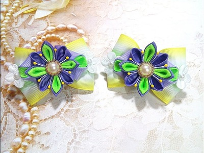 Резинки бантики  из лент канзаши МК. hair clips ribbon kanzashi DIY