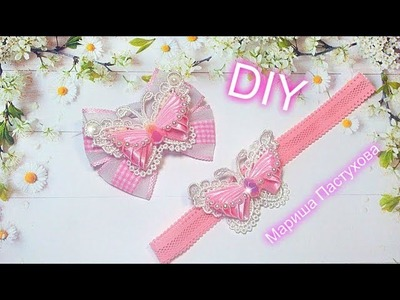 Diy Бабочка канзаши  3D\ butterfly 3D. hair jewelry butterfly out of ribbon and beads