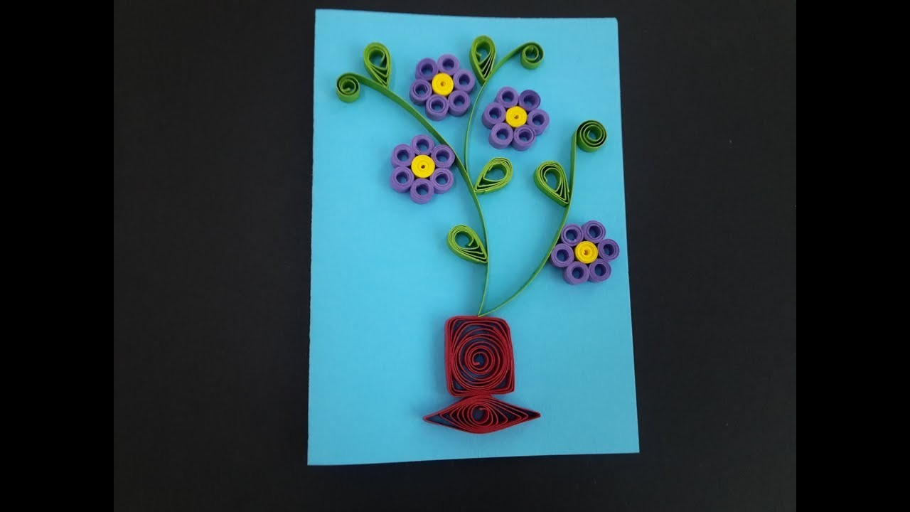 How to make a Greeting Quilling Card   DIY Paper Crafts   Birthday Gift Card Ideas # 53