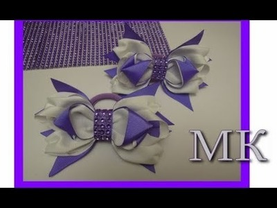 Бант из Ленты МК. Канзаши.  DIY. Kanzashi. Headband Snowflake. Flower. Tutorial. School Bow