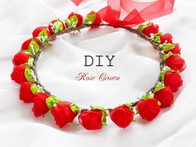 ORGANZA FLOWERS. ВЕНОК ИЗ РОЗ, МК. DIY ORGANZA ROSE CROWN