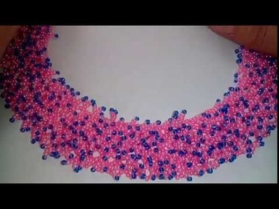 "Beaded necklace. DIY. Колье "" Бисерный мех"". МК. Часть 2.2"