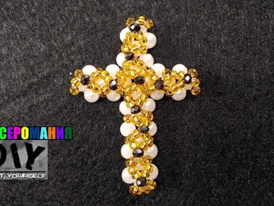Крестик из Бисера, Бусин и Ронделей Мастер Класс. Tutorial: Cross from Beads!