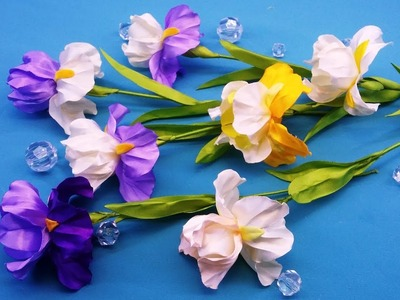 Irises of ribbons.DIY.Flor del iris de las cintas.Ирисы из лент.МК