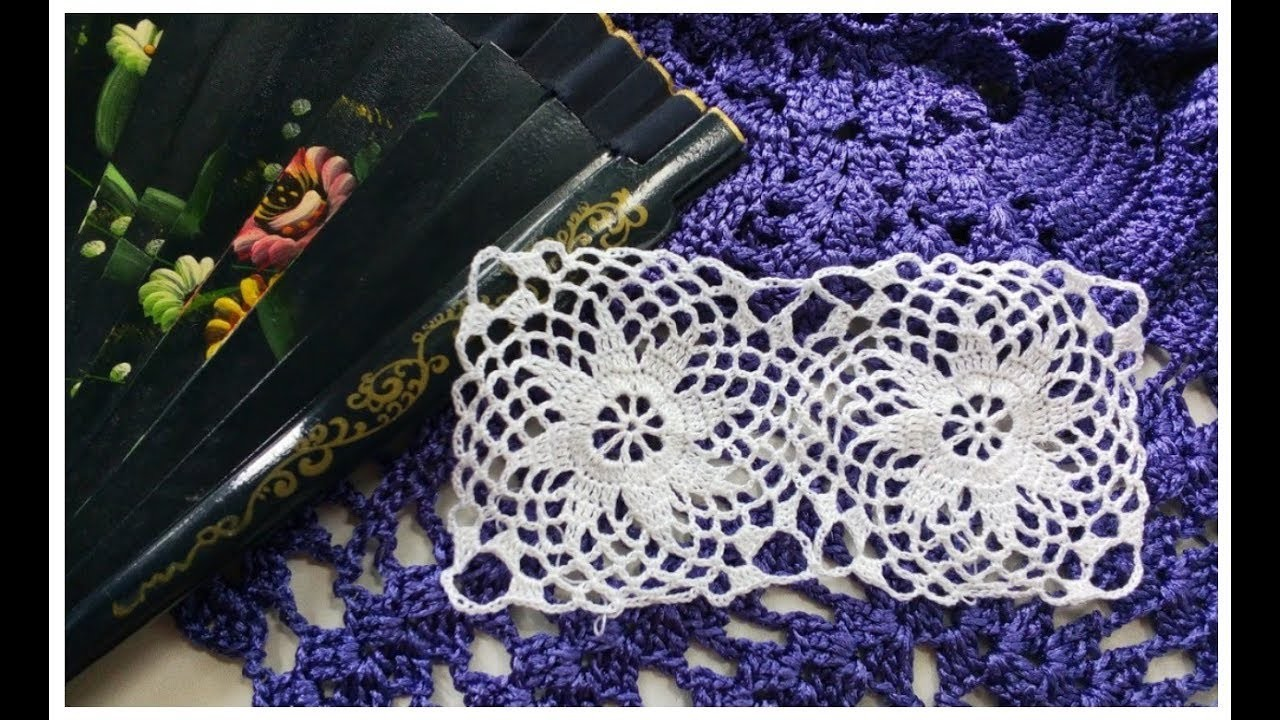 Crochet doily with flowers Openwork square with a flower Ажурный квадрат крючком