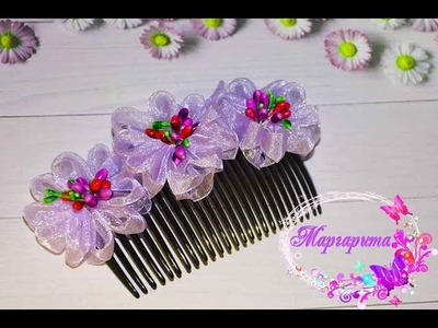 ГРЕБЕНЬ КАНЗАШИ МК ???? DIY Kanzashi Hair Comb