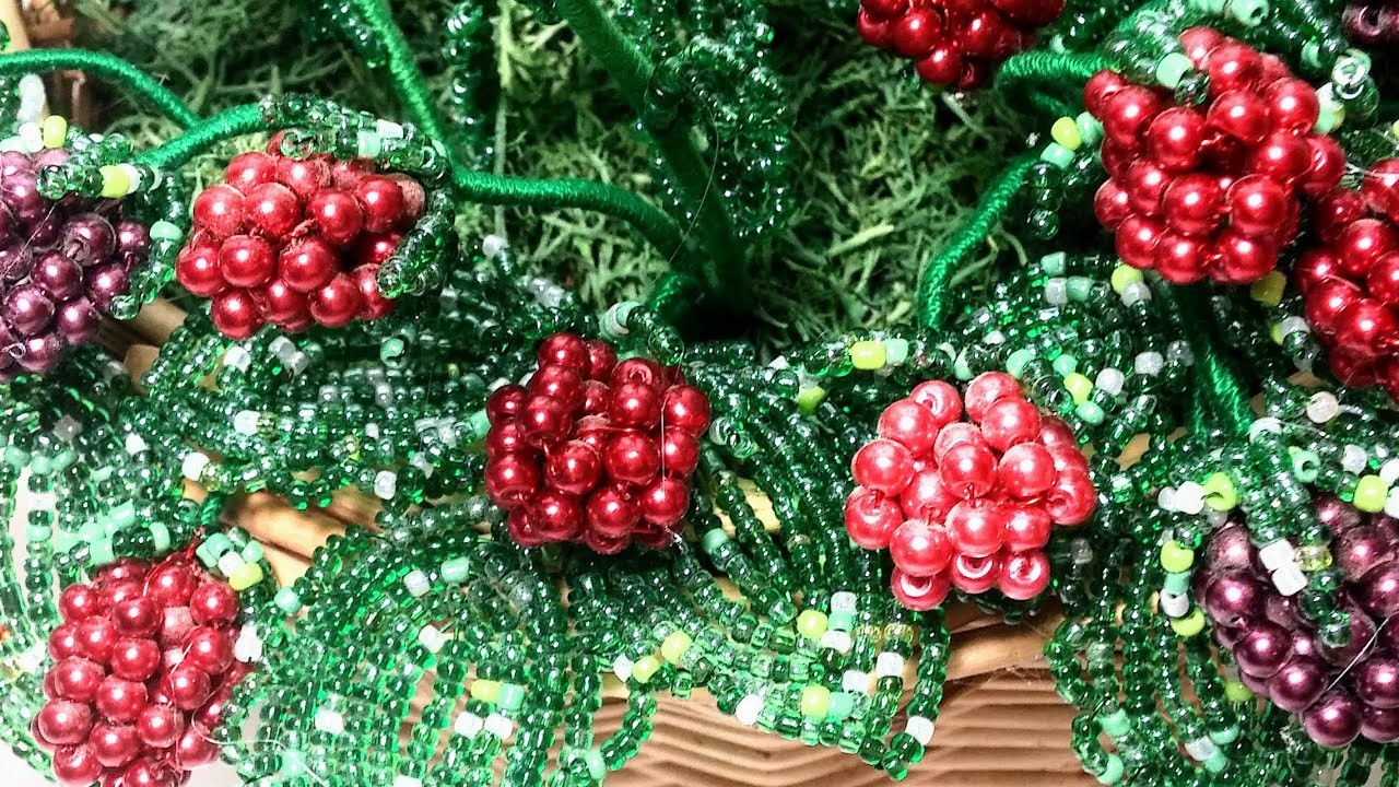 Малина из бисера Мастер класс. Часть 1. Листочки. Beaded raspberry tutorial. Beadwork, flower, Art