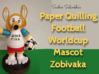 Paper Quilling Football World cup Lego 2018.Mascot. Quilled Fox. Football