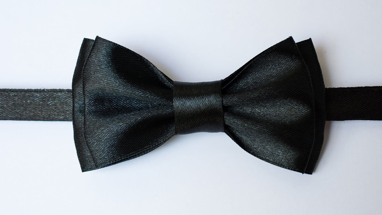 Галстук-бабочка своими руками из атласной ленты. Bow tie with your own hands from satin ribbon