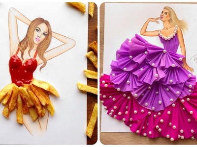 Creative Fashion Designs With Everyday Objects ????Fashion Illustrator Creates Stunning Dresses!