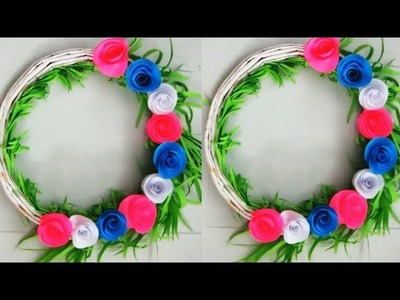 DIY. Simple Home Decor 29.  Newspaper Wall, Door Decoration 76. Hanging Flower. цветы из бумаги