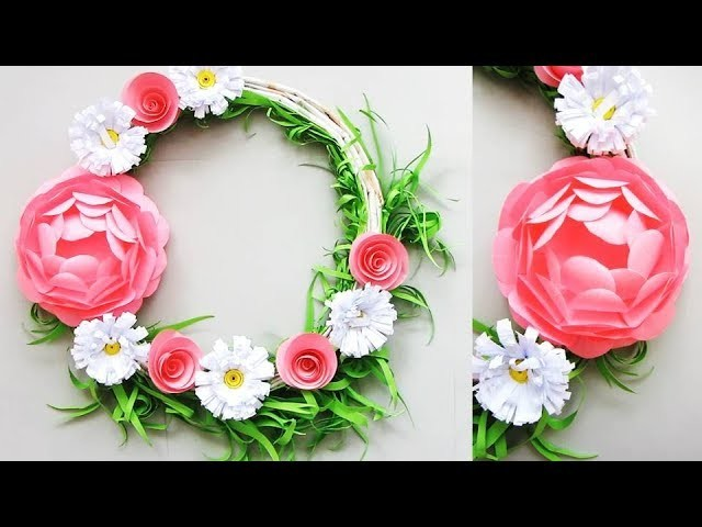 DIY. Simple Home Decor. Wall, Door Decoration. Hanging Flower 83. цветы из бумаги. Paper Craft Ideas