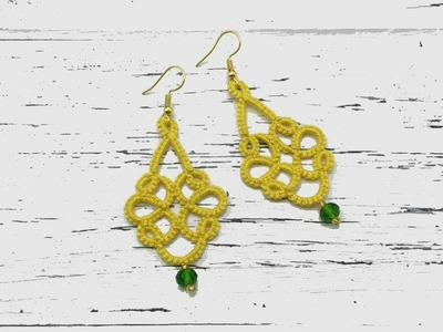 Needle tatting. Yellow earrings with a crystal bead. Фриволите иглой. Желтые серьги с бусиной