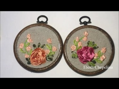 Миниатюрная вышивка лентами. Miniature embroidery with ribbons
