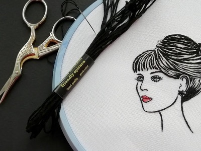 Hand Embroidery |how to embroider Lady | Вышивка : Леди
