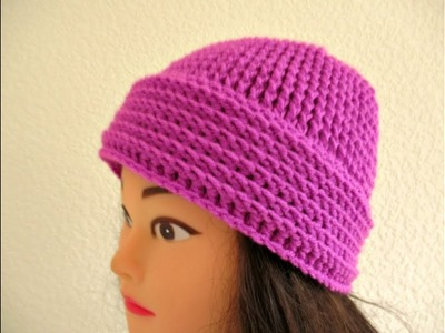 "Crochet beanie hat Ladies Women's How to crochet tutorial 20""-22"" - Designed by Happy Crochet Club"