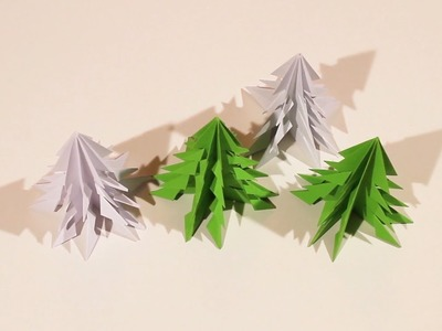 DIY. How to make a paper christmas tree. Origami for kids.