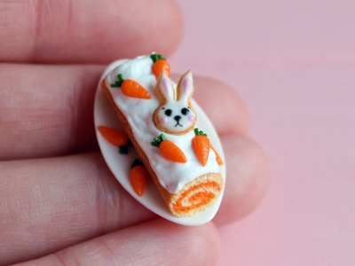 Miniature Easter sweet roll with carrot. Polymer clay.Tutorial. DIY. Миниатюрный пасхальный рулет.