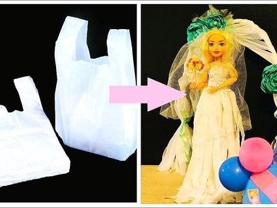 DIY Barbie Hacks and Crafts ~ Wedding Dress & Wedding Archway from Plastic Bag