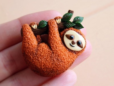 Miniature cute Sloth. Made from polymer clay. Tutorial. DIY. Миниатюрный ленивец