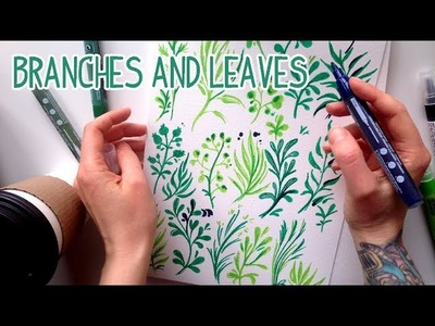 How to draw branches and leaves | Ветки, палки, листья