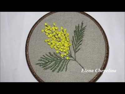 Мимоза вышитая лентами.Mimosa embroidered with ribbons