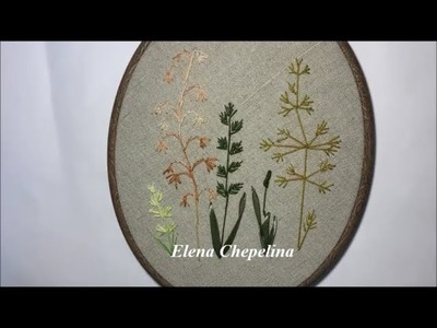 Травки в вышивке лентами. Herbs in embroidery ribbons