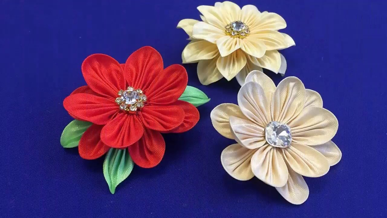 Ribbons kanzashi petals.Alternative way.Kanzashi.Metodo alternativo.Тонкий лепесток канзаши