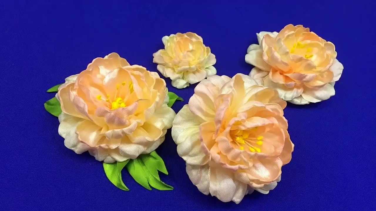 Ribbons peony.Another way.Peonía hecha de cintas.Пион из лент. Другой способ