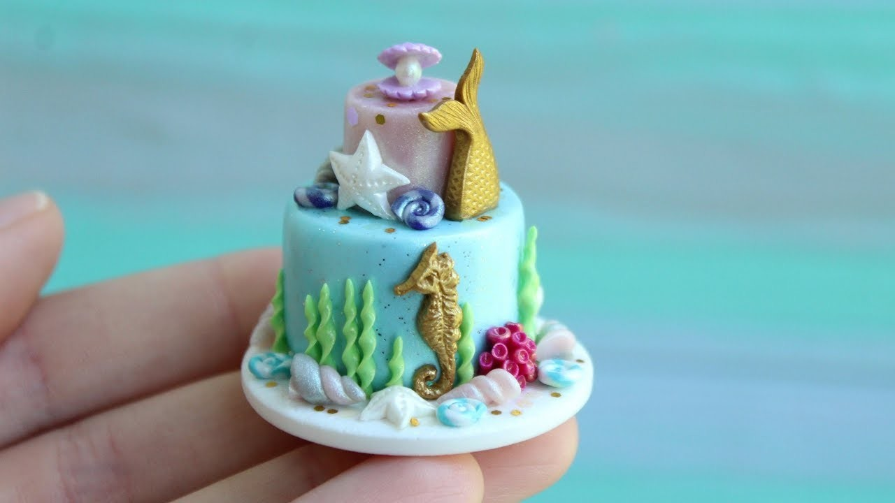 Mermaid party. Miniature cake on a scale of 1:12.Tutorial. DIY. Миниатюрный торт